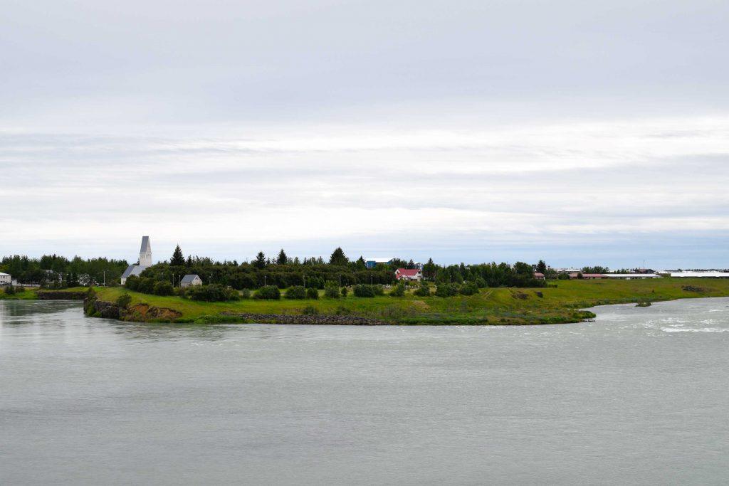 View of Selfoss, south Iceland, and Ölfusá River